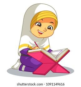 Muslim Girl Reading Quran.
