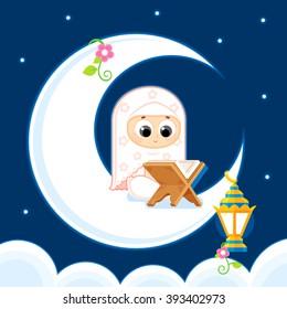Muslim girl Reading Quran  _ Happy Ramadan