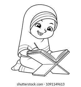 Muslim Girl Reading Quran BW.