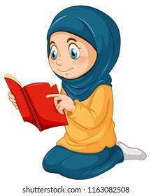 A muslim girl study qur'an illustration