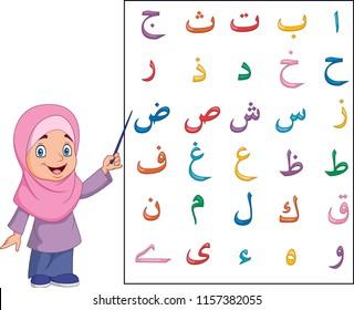 Muslim girl teaching arabic alphabet
