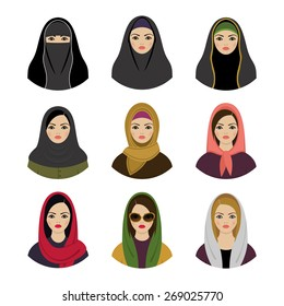 Muslim girls avatars set. Asian muslim traditional hijab collection