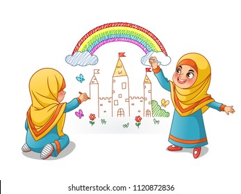 Muslim girls draw palace with rainbow on the wall, cartoon character design, vector illustration, isolated against white background.