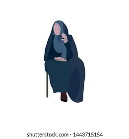 A Muslim granny with chador and hijab is talking while she is sitting on a chair _ the kind grandmother