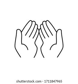 Muslim hands in pose of praying. flat contour style sign islam dua logotype stroke graphic art design isolated on white background. concept of woman body language like mercy or pray in ramadan. EPS10