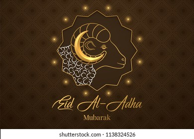 Muslim holiday Eid al Adha Mubarak. Vector illustration of the Feast of sacrifice with Golden Ram and Crescent on the brown background. Graphic design of Eid al Fitr. Kurban Bayram festival