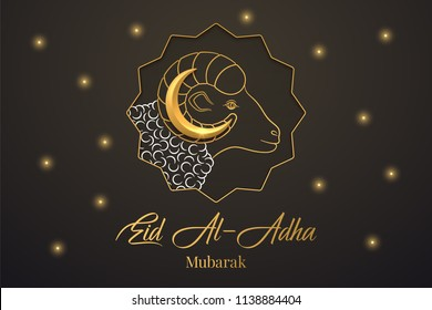 Muslim holiday Eid al Adha Mubarak. Vector illustration of the Feast of sacrifice with Golden Ram and Crescent on the black background. Graphic design of Eid al Fitr. Kurban Bayram festival