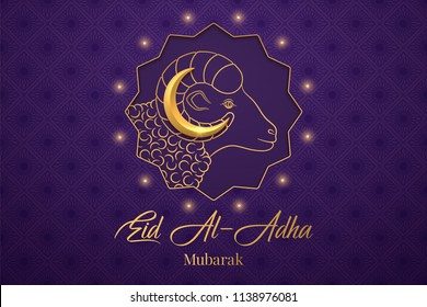 Muslim holiday Eid al Adha Mubarak. Vector illustration of the Feast of sacrifice with Golden Ram and Crescent on the violet background. Graphic design of Eid al Fitr. Kurban Bayram festival