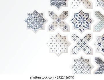 Muslim holiday Eid al Adha greeting card. Close-up of colorful ornamental arabic tiles, patterns through white mosque window. Ramadan invitation. Vector arabesque illustration bacground, modern design