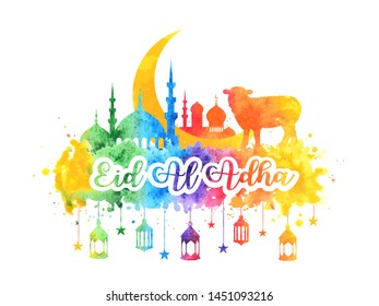 Muslim holiday Eid al-Adha. Greeting card with a sacrificial sheep, mosque and crescent with watercolor rainbow splash. vector illustration