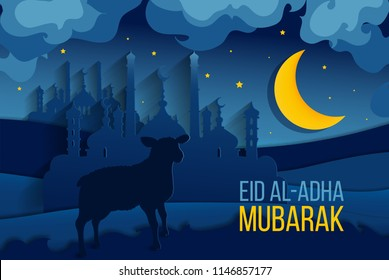 Muslim holiday greeting card Eid al-Adha Mubarak. Translation from Arabic: Eid al-Adha. Vector EPS10