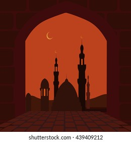 The Muslim holiday of Ramadan. Postcard in the form of an arch. holiday symbol. City view. Vector illustration