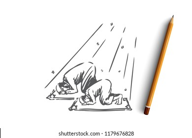 Muslim, islam, religion, arab, father and son, prayer concept. Hand drawn muslim dad and son praying concept sketch. Isolated vector illustration.
