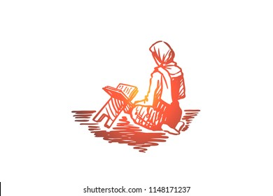 Muslim, islam, religion, arab, girl, koran, prayer concept. Hand drawn arabic girl sitting on knees and praying concept sketch. Isolated vector illustration.