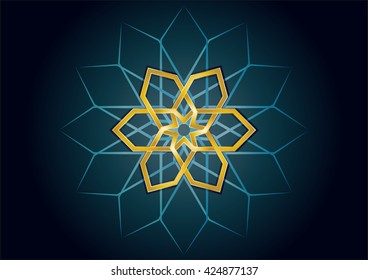 Muslim islamic holiday celebration greeting card or wallpaper with arabic floral round ornaments, arabesque mandala. Ramadan or Eid holiday background.