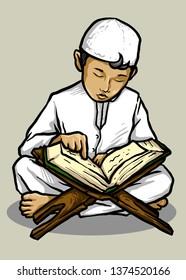 Muslim kid reading Qur'an at mosque in Ramadan vector