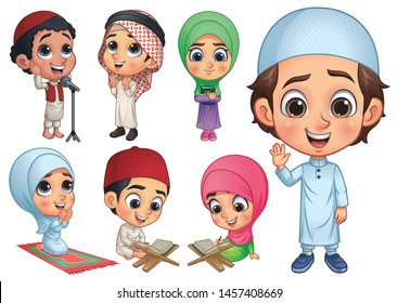 Muslim Kids Collection, vector EPS 10
