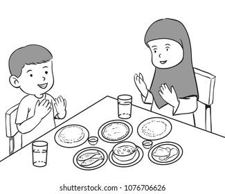 Black Family Dinner Stock Vectors Images Vector Art Shutterstock