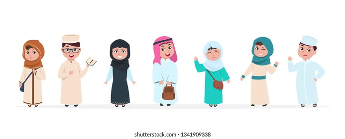 Muslim kids. Islamic children cartoon characters. School boy and girl in saudi traditional clothes vector set