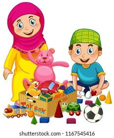 Muslim kids playing toy illustration