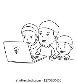 Muslim Kids watching desktop hand drawn for coloring book, education concept - Cartoon Vector Illustration