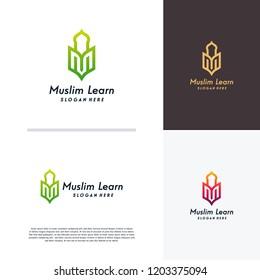 Muslim Learn logo, Islam learning logo template, Vector illustration