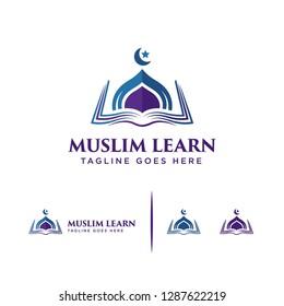 Muslim learning logo template, Islam learning logo , Muslim Creator logo, Creative Muslim logo template designs