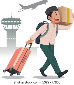 muslim male carrying cardboard box and suitcase for mudik lebaran or islam travel tradition during eid mubarak celebration - vector