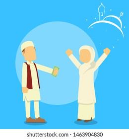 muslim man giving money to muslim girl vector