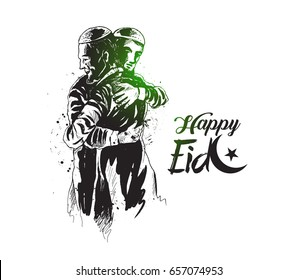 Muslim man hugging and wishing to each other on occasion of Eid celebration, Hand Drawn Sketch Vector illustration.