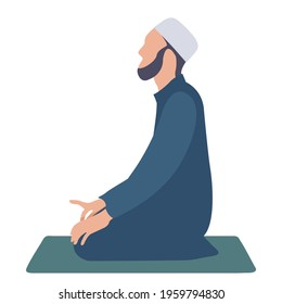 Muslim man kneeling and praying on carpet.Ramadan kareem holy month religion concept. Vector illustration
