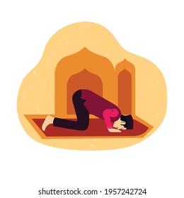 Muslim Man Pray Ramadan Vector