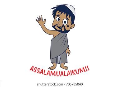 A Muslim Man saying Hello -Assalamualaikum. Vector Illustration. Isolated on white background.