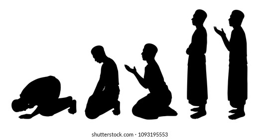 Muslim man silhouette vector set