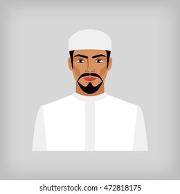 Muslim man in traditional white clothes. vector illustration - eps 8