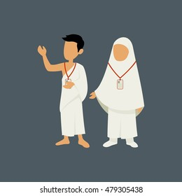 Muslim Man and Woman Characters Wearing Ihram Cloths for Performing Hajj or Umrah Pilgrimage in Makkah