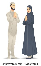 Muslim Man and Woman are Greeting, Vector EPS 10