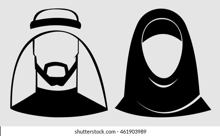 Muslim man and woman.Traditional arab couple.