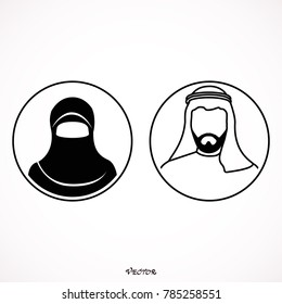 Muslim man and woman.Traditional arab couple. flat style. black icon on isolated on white background