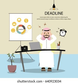 Muslim man works hard and has headache because he did not complete his work. Feeling sick and tired.Vector/Illustration