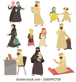 Muslim men and women in everyday life set