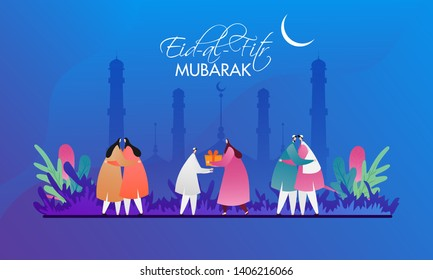 Muslim men and women hugging to each other on the occasion of Eid-Al-Fitr Mubarak. Can be used as banner or poster design.