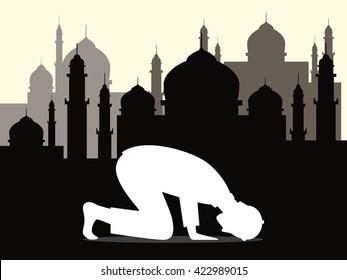 muslim moslem pray shalat salah sujud arabic vector graphic illustration