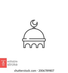 Muslim mosque domes icon. islamic worship place, islam prayer room for Religion and Ramadan symbol. Moslem Praying in outline editable stroke. Vector illustration. Design on white background EPS 10