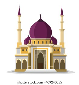 Muslim mosque isolated flat facade on white background. Flat with shadows architecture object. Vector cartoon design. Beautiful muslim temple icon illustration. Eastern cultural landmark.
