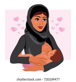 Muslim mother in national costume holding her newborn baby child in her arms breastfeeding. Arab mother and baby in cartoon style. Cards of Happy Mother's Day