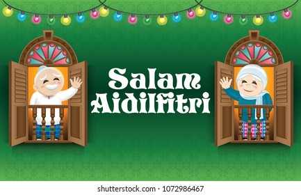 "Muslim  old man and woman standing on a Malay style window, celebrating Raya festival, with Malay style pattern background.  The words ""Salam Aidilfitri"" means happy Hari Raya."