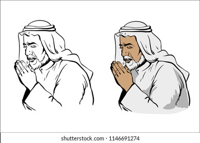 Muslim old wise man praying hand drawn vector illustration in black and white variation and colored isolated on white background