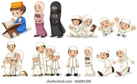 Muslim people in different actions illustration