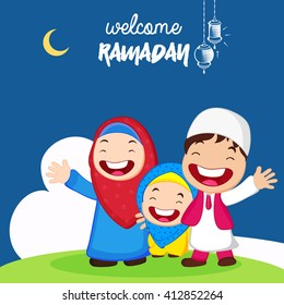 Muslim people or kids showing happiness and welcoming their holy month Ramadan Kareem wallpaper background design.